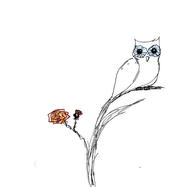 Simple ink drawing with an owl and a red flower in for Ink drawings easy