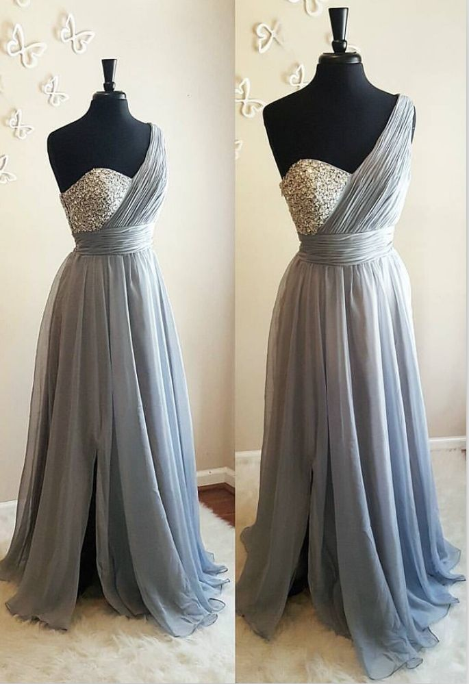 Bridesmaid Dresses, Beaded One Shoulder Bridesmaid Dress, Formal Party Dresses, Long Grey Evening Dress  by comigodress, $135.29 USD
