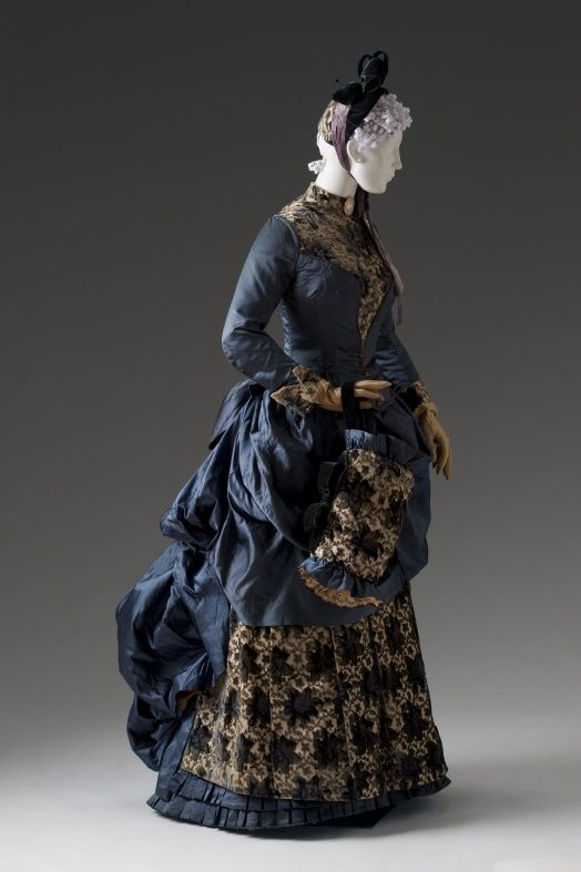 Afternoon/Visiting Ensemble, American, ca. 1880-85. Bodice and skirt of floral-p