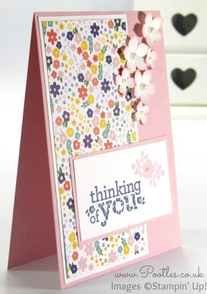 Stampin' Up! Independent Demonstrator Pootles - A Kind & Cozy Flowershop - Kind & Cozy stamp set; Flowerpot DSP; Blushing Bride cardstock; and ink-tipped Petite Petals and Itty Bitty flowers.