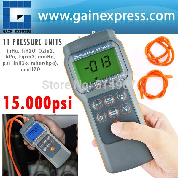 119.00$  Watch now - http://aliaku.worldwells.pw/go.php?t=1441503452 - Professional Digital Economic Manometer 15.000psi Gauge &Differential Pressure meter bar mmHg inHg kPa mbar 119.00$