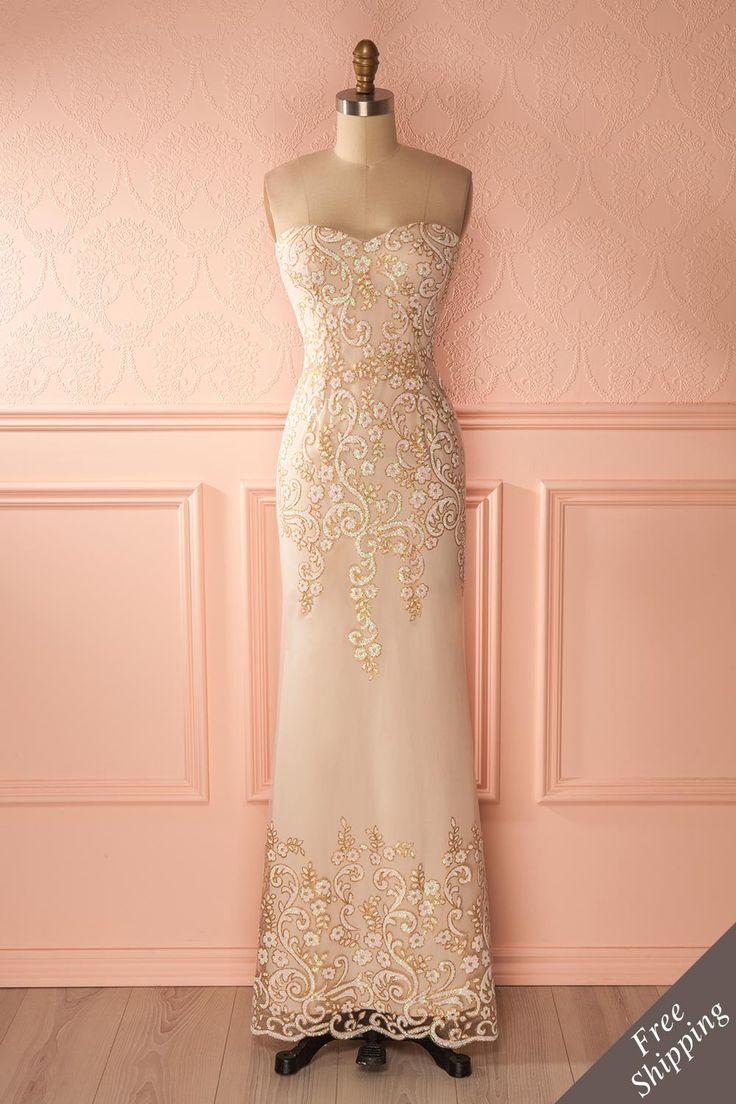 Robe de soirée beige sirène à paillettes - Beige sequins mermaid gown