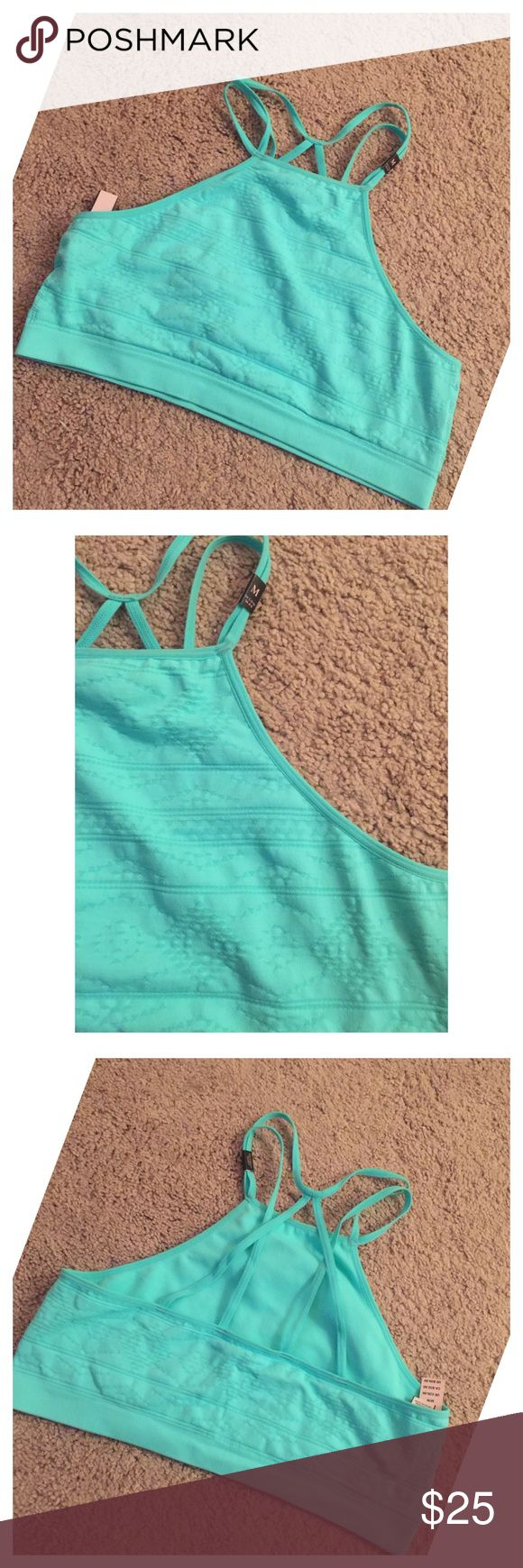 NWT Victoria's Secret teal blue sports bra New with tags (bought but is too big on me !!)  💥NO TRADES. (Unless you have this in a small or extra small! )  Retail price: $29.99  New Victoria's Secret vs pink (teal blue ) back strap strappy sports bra   Brand: Victoria's Secret   Color: teal blue  Size: medium   Any questions feel free To ask! NEXT OR SAME day ship. PINK Victoria's Secret Intimates & Sleepwear Bras