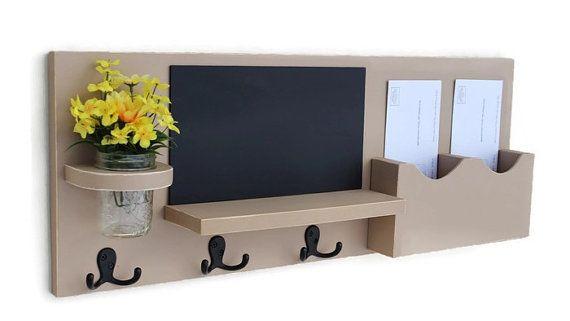 Mail Organizer - Coat Rack - Mail Holder - Letter Holder - Chalkboard - Chalk board - Key Hooks - Jar Vase - Organizer - Coat Rack - Wood