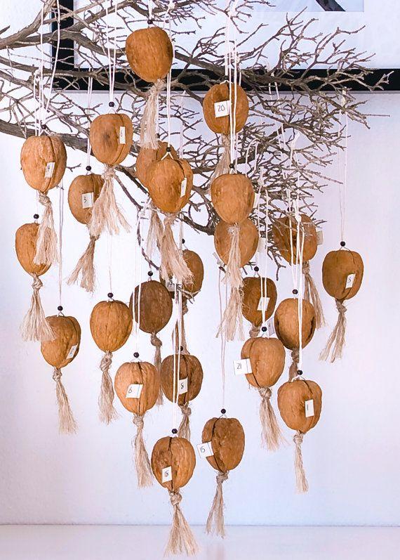 DIY Walnut Advent Calendar or Christmas Tree Decorations