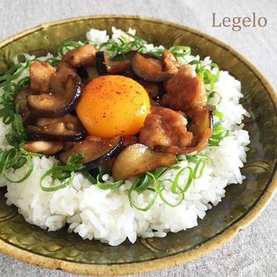 簡単10分♪ 鶏肉茄子スタミナ丼☆ ネギたっぷり甘辛ソースたれ
