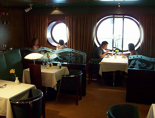 Here we are in Restaurant Bon Vivant on board the big ship.  This restaurant is a member restaurant in the international gastronomy association Chaîne des Rôtisseurs   Superb place to eat.