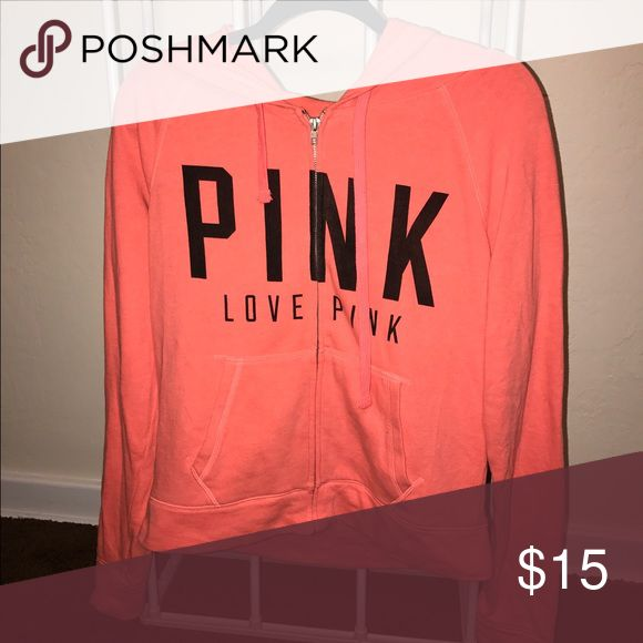 Victorias Secret Zip Up hoodie light orange zip up hoodie PINK Victoria's Secret Tops Sweatshirts & Hoodies