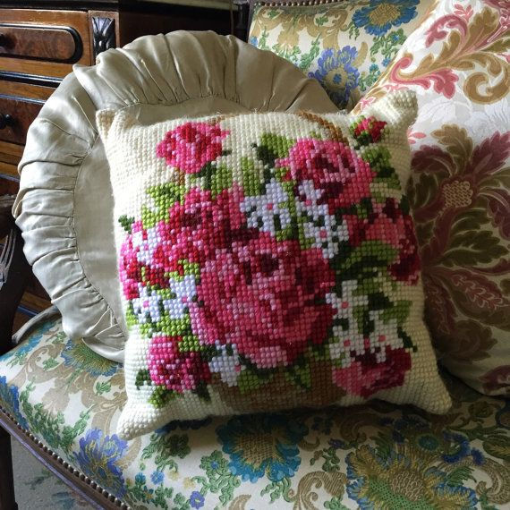 Vintage hand stitched handmade embroidered decorative pillow
