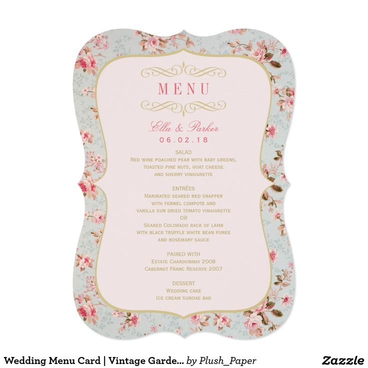 Wedding Menu Card | Vintage Garden Party Vintage garden party themed wedding dinner menu card design features a beautiful pattern of floral roses that frames the wording and soft pastel colors - blush pink, vintage blue green, and gold.