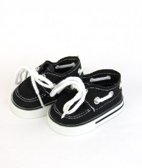 "Boy doll clothes BLACK boat shoe for 18"" dolls"