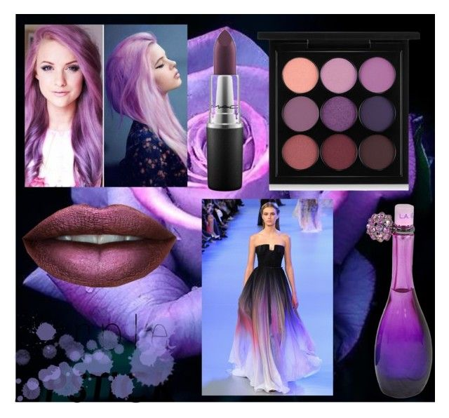 """Purple #purplelipstick"" by real-21c on Polyvore featuring MAC Cosmetics, Jennifer Lopez and Elie Saab"