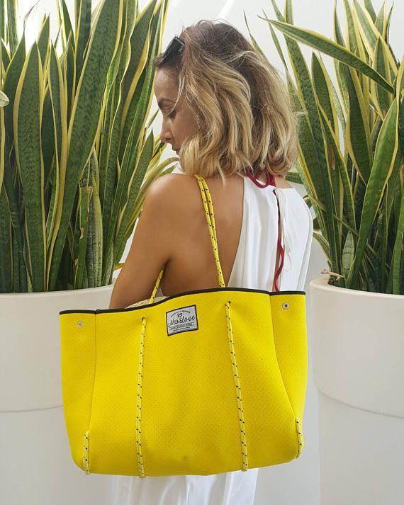 Yellow Neoprene Bag, beach bag, tote bag, neoprene bags by @thismustbe_neolove  https://www.etsy.com/uk/listing/510548913/tote-bag-beach-bag-shopping-bag-neoprene