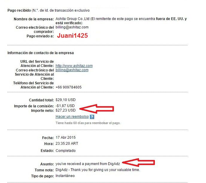 Primer Pago DigAdz - $27,23 - 17-04-2015