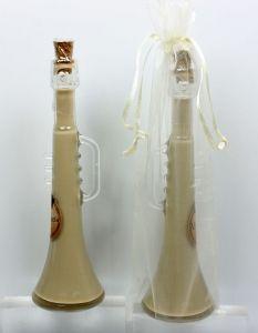 Detalle Boda Botella Trompeta con Licor crema en bolsa organza, regalo invitados #Grandetalles