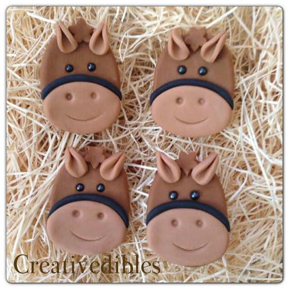 Make some of these to put on top of cookies? Edible Fondant Cupcake Cookie Toppers- Horse