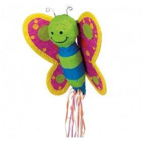 Pinata Vlinder pull beweegbare vleugels en blauwe strepen