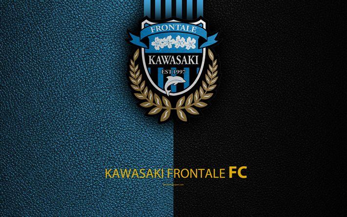 Download wallpapers Kawasaki Frontale FC, 4k, logo, leather texture, Japanese football club, emblem, J-League, Division 1, football, Kawasaki, Kanagawa, Japan, Japan Football Championships