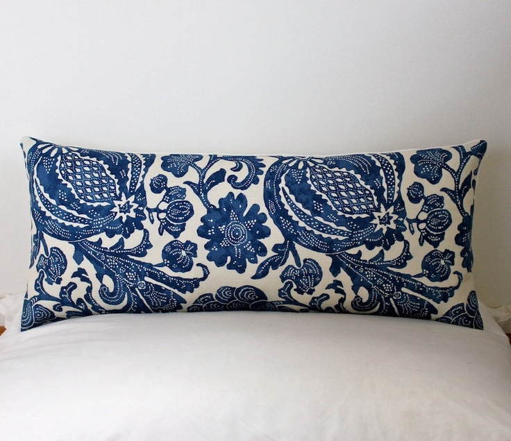 Floral Batik Decorative Designer Bolster Pillow Cover 10x22 NEW. Navy Blue / Indigo . Accent ...