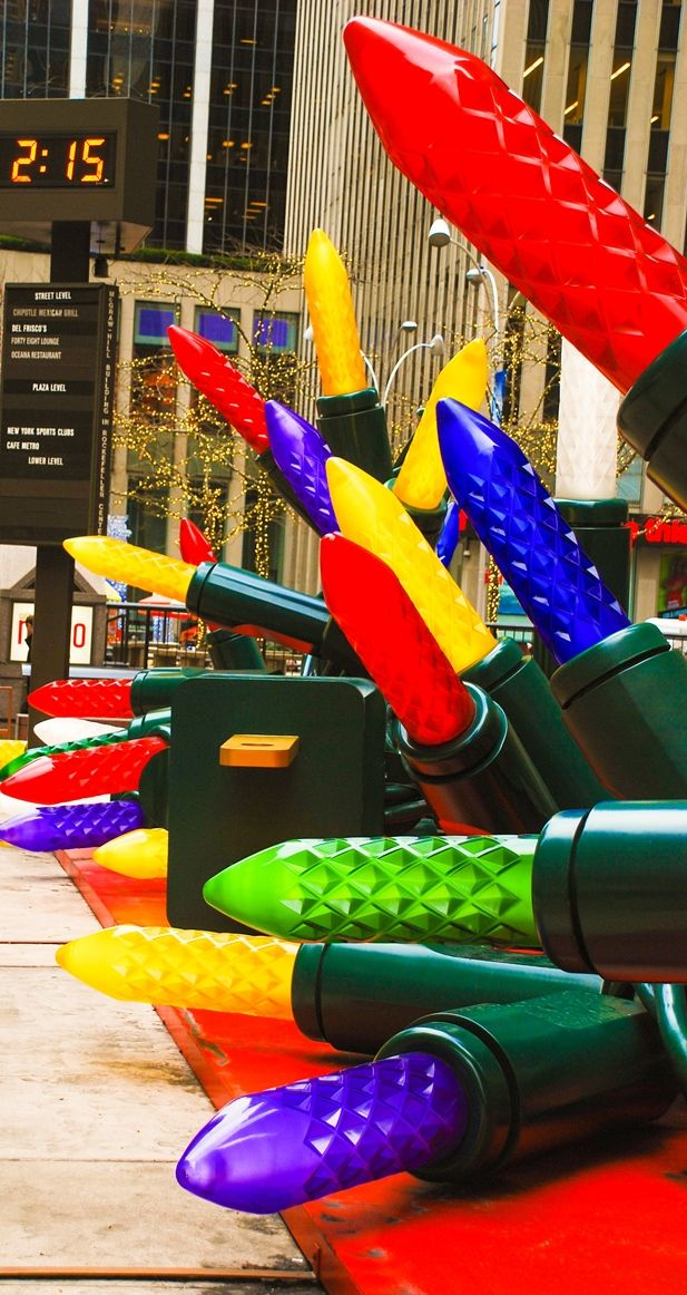 Gigantic Christmas lights on 6th Avenue in Manhattan NYC.  Christmas holidays in New York City - 10 Things To Do in NYC in December.