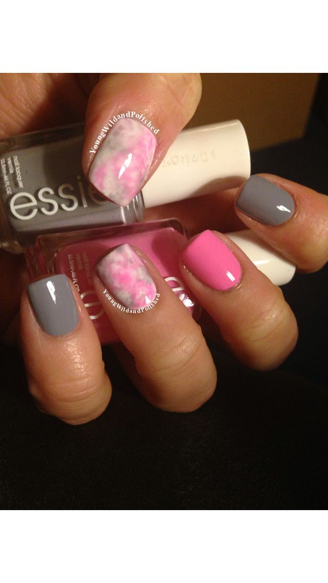 Water Color Nails - nice color matching!  Love the grey and pink and the grey…