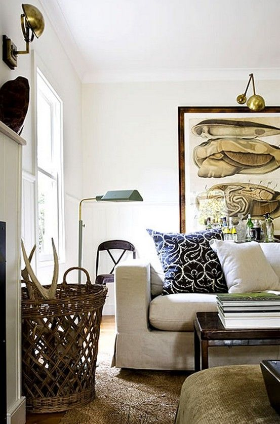 Gregory Mellor {off - white vintage rustic living room}. Love the brass