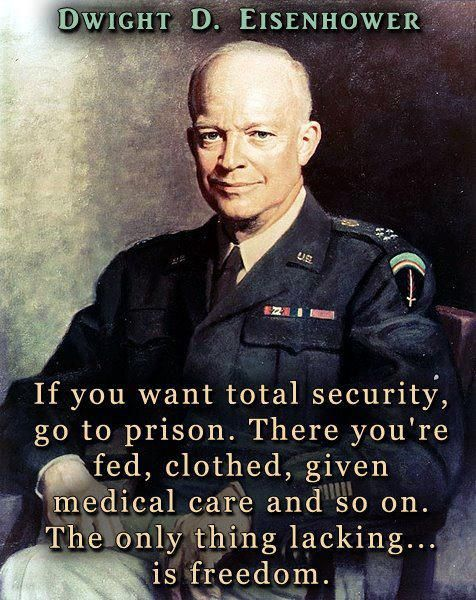 If you want total security, go to prison.  There you're fed, clothed, given medical care and so on.  The only thing lacking is freedom. - Dwight D Eisenhower