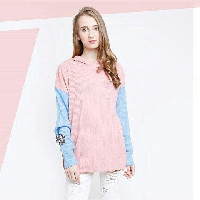 ✨Kode barang : Sofia Premium Sweater Combi Dusty Pink ✨Price: 90k ✨Material: premium catton Knitt import  #lacralin