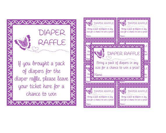 Butterfly Diaper Raffle Tickets & Sign- You Print (Digital Item)