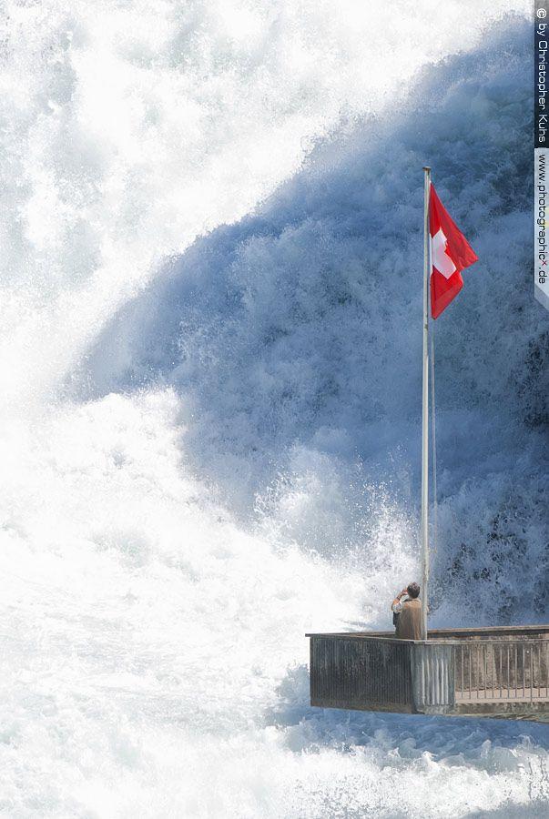 The largest waterfall in Europe is in Rheinfall, Switzerland (47° 40.664'N   8° 36.898'E).   Loud.  Wet.