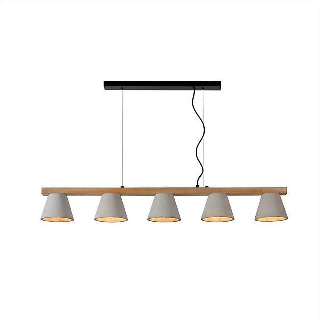 Possio Suspension en bois et béton à 5 lumières L110cm