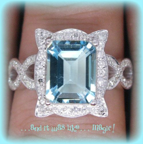 4ct Emerald Cut Aquamarine Engagement Ring in a 14k White Gold Picture Frame Halo Setting