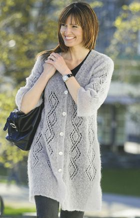 Long Mohair jacket / cardi has free PDF download from danish Family Journal
