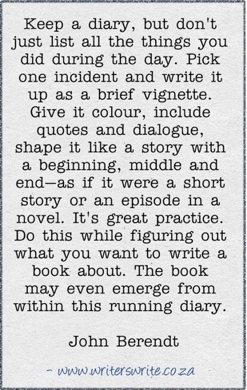I actually do this sometimes. Wouldn't write a novel based on a diary entry though - at least not yet.......