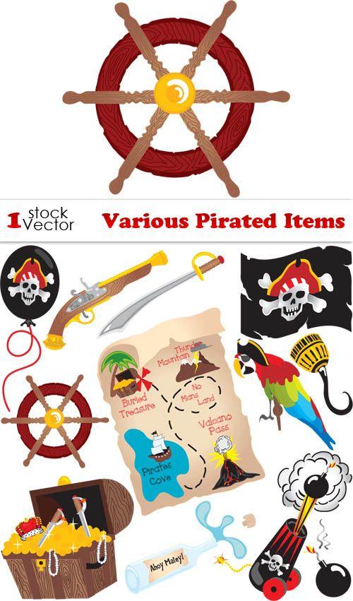 Яркие пиратские элементы - сокровища, пиратский флаг, карта, попугай