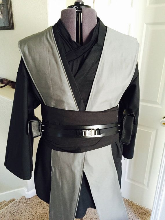 Star Wars Inspired Grey Jedi Robe Tunic, Tabards , Obi set with Leather Belt and pouch