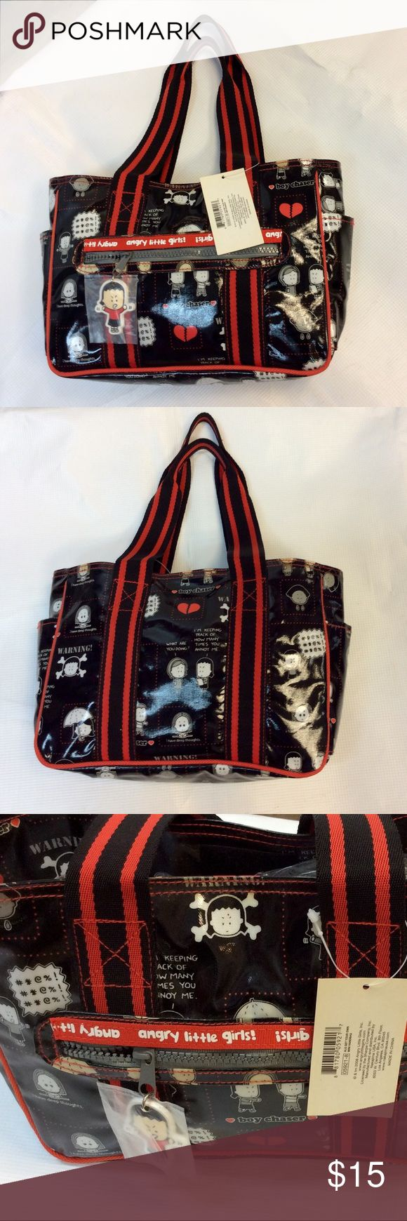 "🆕Angry Little Girls by Lela Lee Black Vinyl Bag NWT 2008 Angry Little Girls by Lela Lee Black Vinyl Bag  New With Tags  Measurements are: 11"" length, 8"" tall, 2.5"" deep w/ 8"" handle drop Bag has cartoon drawings from one of Lela Lee comic book Angry Little Girls  Bags Shoulder Bags"