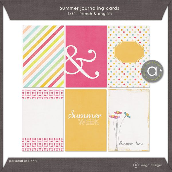 Free Summer Journal Cards {in English and French} for Project Life from Ange Designs {on Facebook}