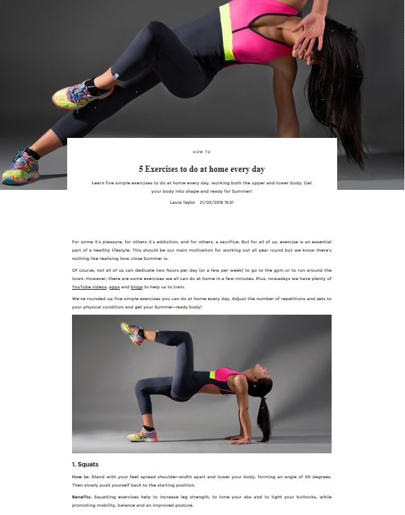 5 Exercises to do at home every day | UNIKSTORE Blog