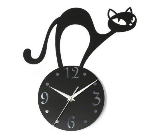 Acrylic Mirror Quartz Watch 3D Black Cat Crystal Wall Clock Living Room Gift ^