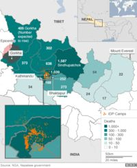 Map showing areas worst affected by earthquake in Nepal