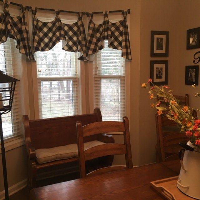 Buffalo Check Tab Flounce Valance Panel Or Pillow Valance Farmhouse Decor Living Room Decorative Curtain Rods