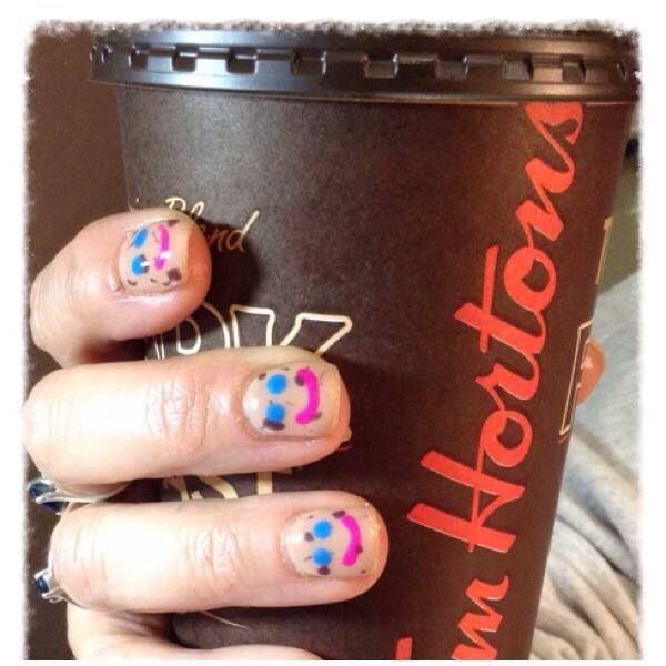 Tim Horton smile cookie nails
