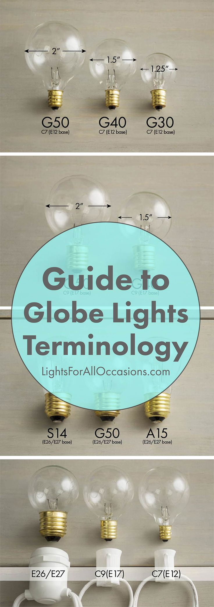 Check out our super informative Guide to Globe Light Terminology! In it we show you the differences between E12 and E17 bulb bases, G40 and G50 bulb sizes, and C7 and C9 string light strands.