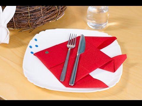 DIY Pliage de serviette en poisson pour Pâques ou le 1er avril - YouTube