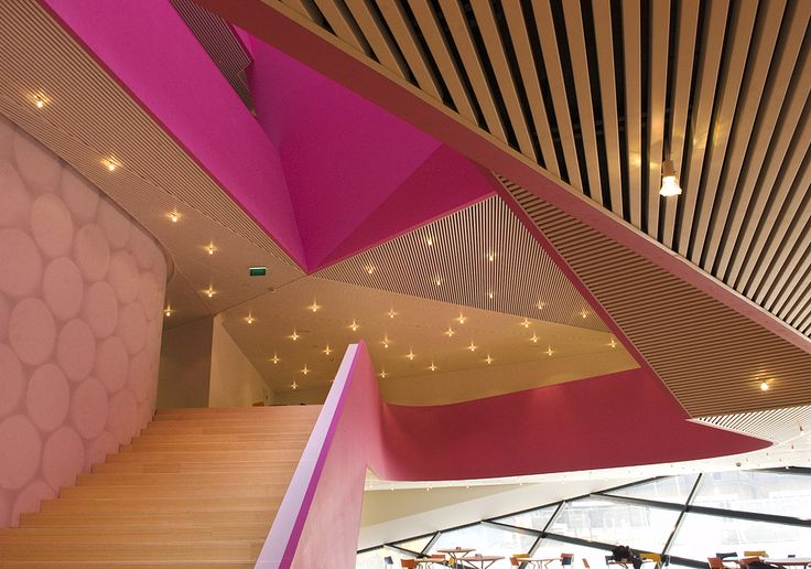 Metal Ceilings - Woodwright Deep Box Series ceiling system from Hunter Douglas Contract