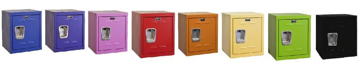 """You are buying one (1) new Kids Locker.  It comes in any of eight colors: Blue, Purple, Pink, Red, Orange, Yellow, Green, and Black.  They are 15"""" x 15"""" x 24"""" high, with no legs. This locker is perfect for a bedroom, mudroom, garage, toy room, and more.  These Kids Lockers are made of steel. There is a place to put a padlock on them, but they do not come with a padlock. These lockers make great gifts!"""