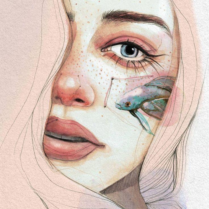 """4,647 Me gusta, 74 comentarios - Ana Santos (@anasantos_illustration) en Instagram: """" . #art #arte #artwork #ilustracion #illustration #watercolor #acuarela #draw #dibujo #retrato…"""""""