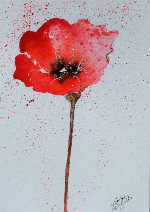 Watercolour Poppy Original Painting Red by SonyaReynoldsArt, £18.00