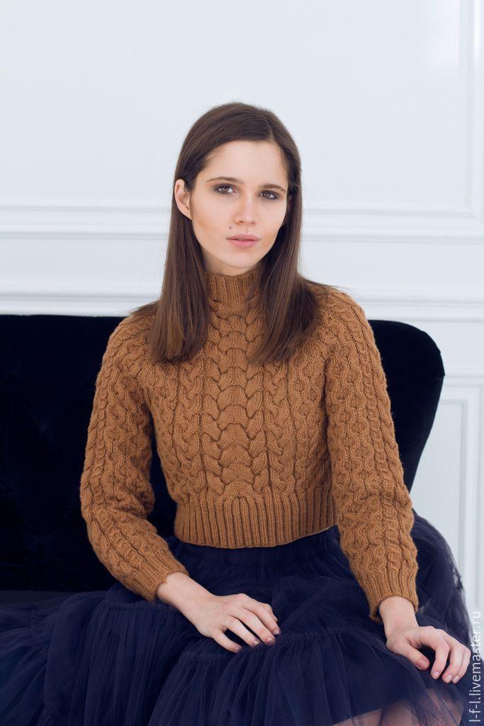 """Купить Вязаный укороченный свитер """"Карамель"""" - коричневый, однотонный, укороченный топ, укороченный свитер, свитер"""